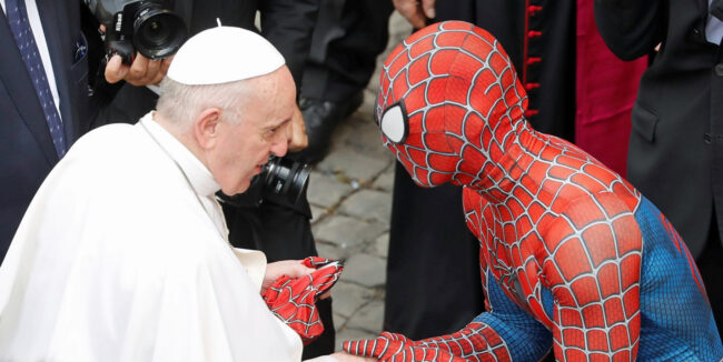 pope and spiderman